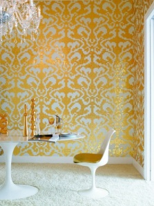 glass tiles in damask pattern